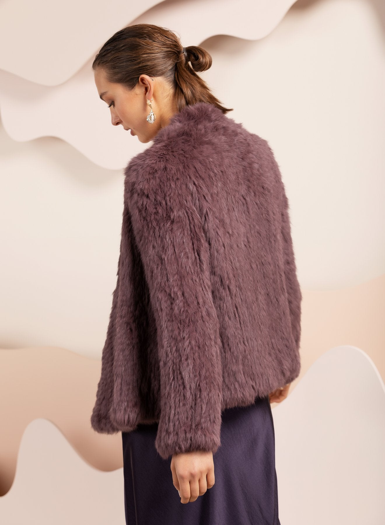 grape colour evening real fur jacket by bubish