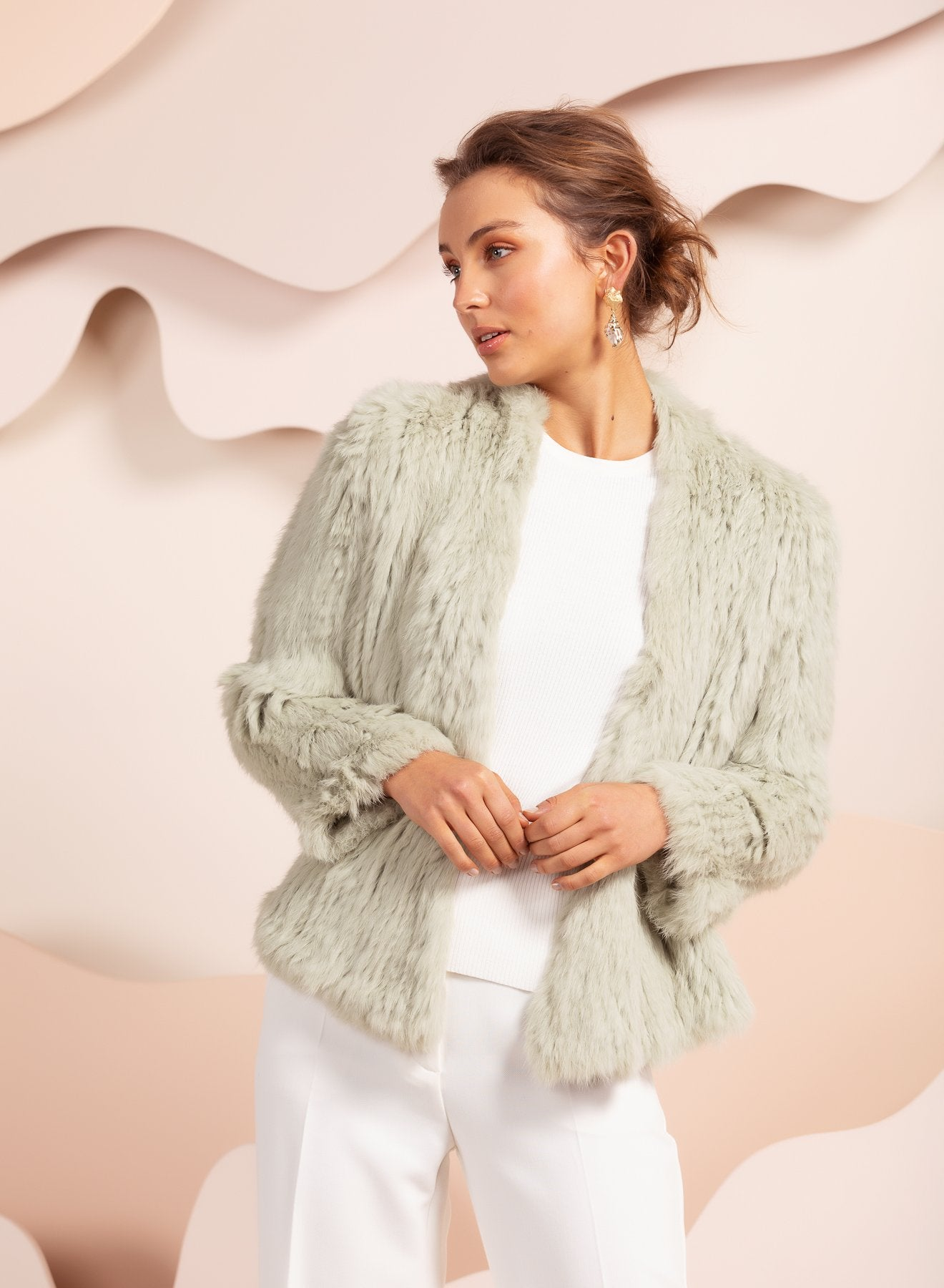 bubish real fur jacket in mint green