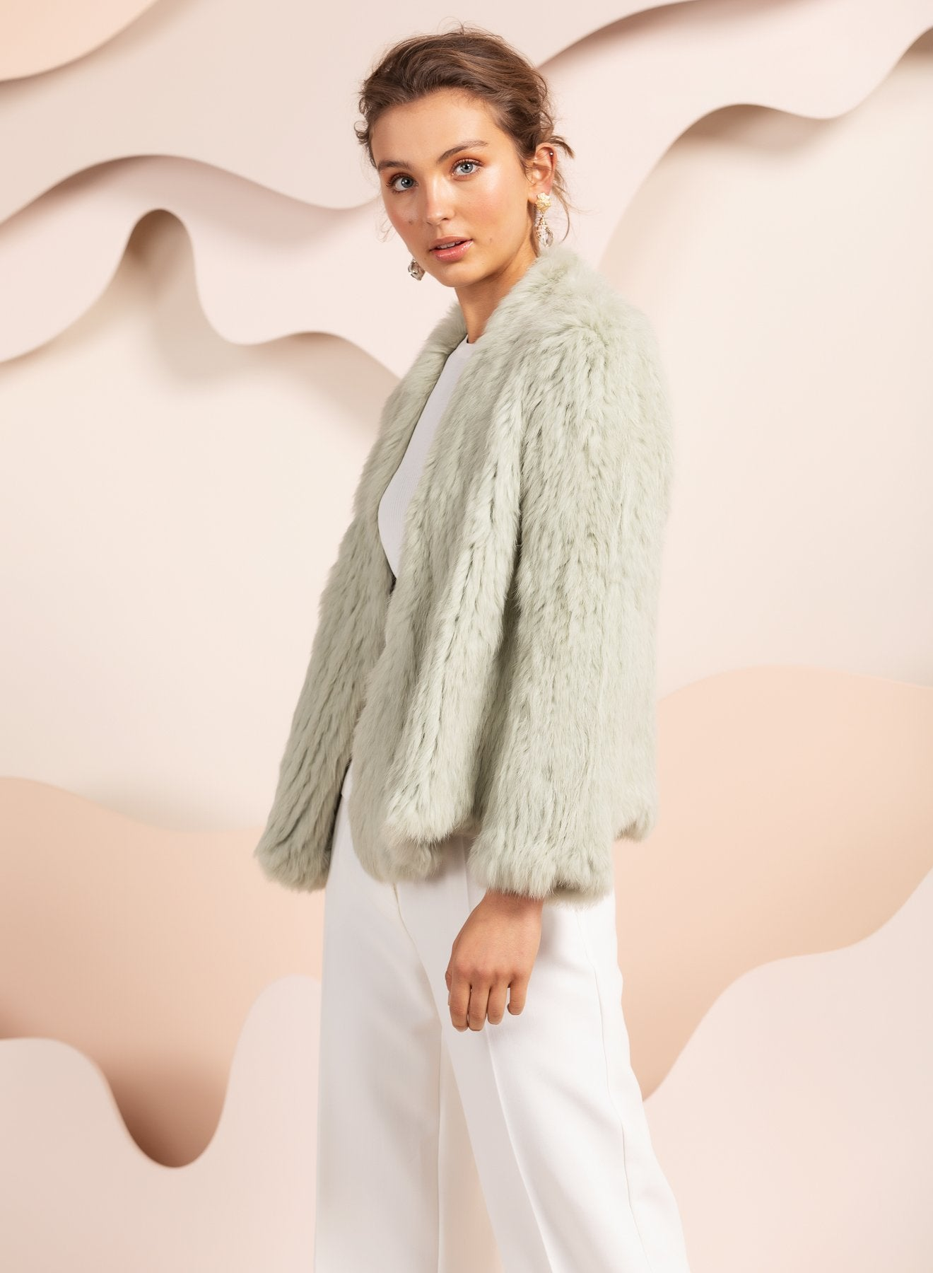 mint green rabbit fur real jacket australia