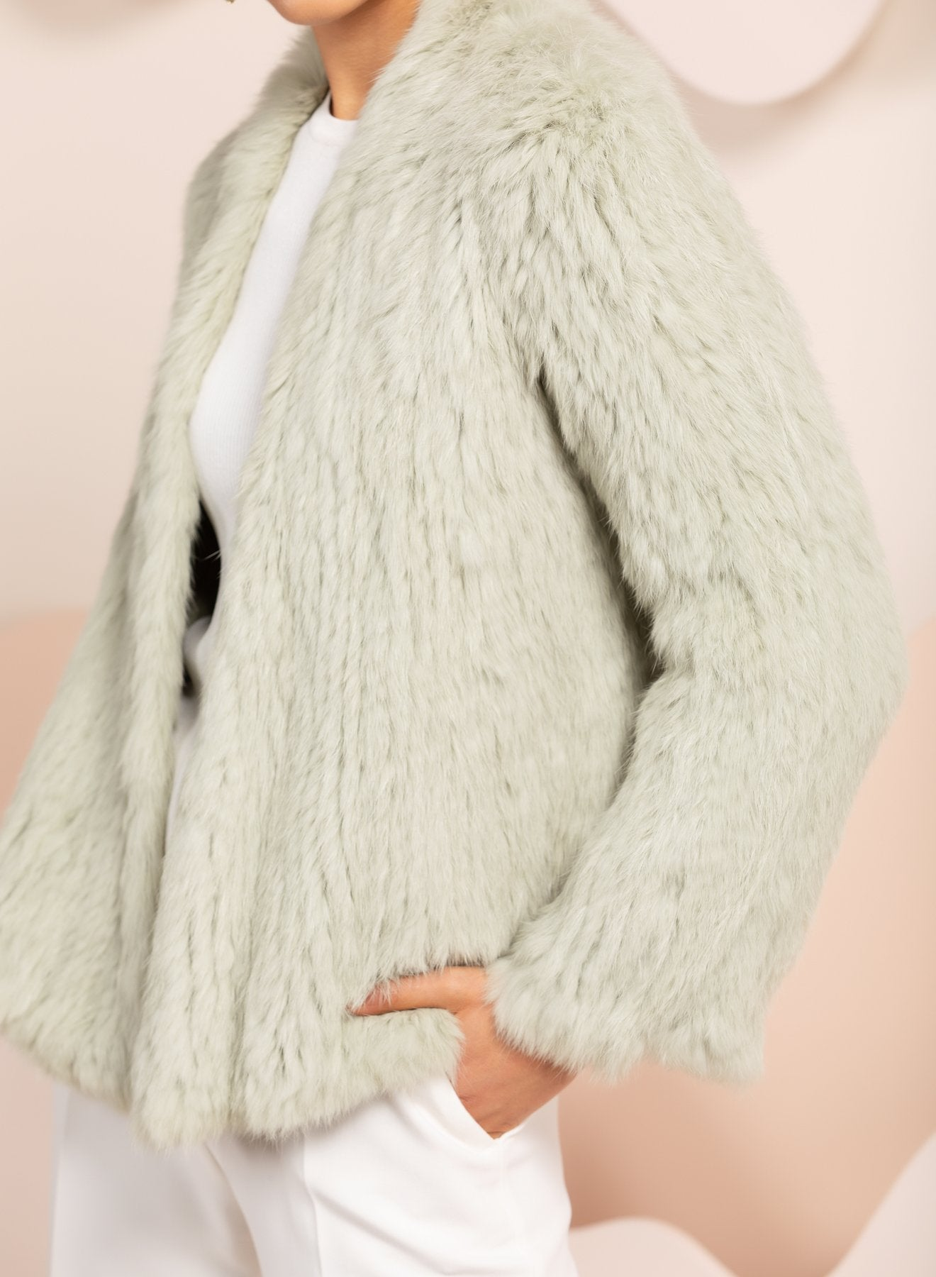 mint green real fur jacket by bubish