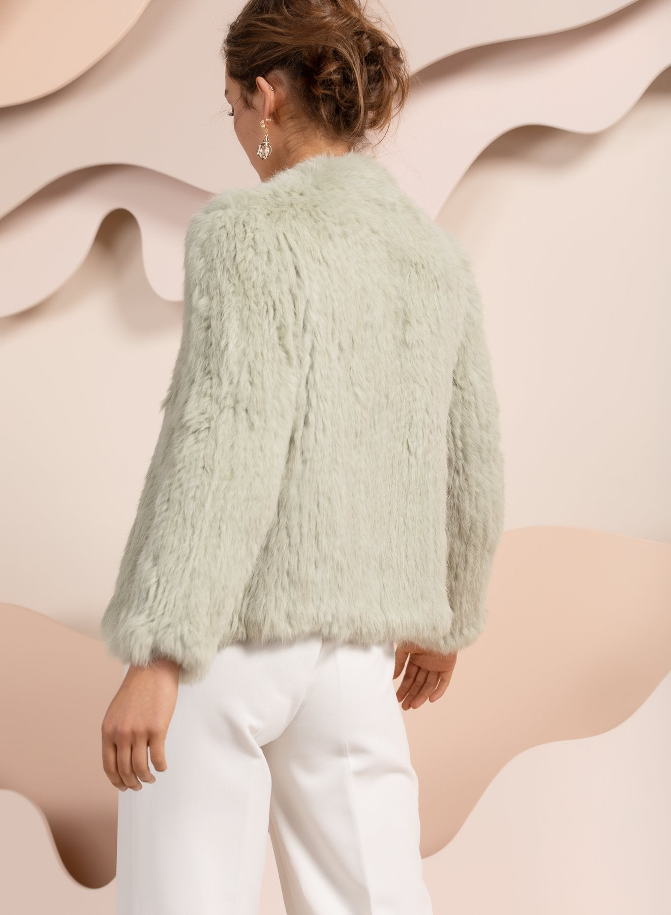 bubish mint green real rabbit fur jacket