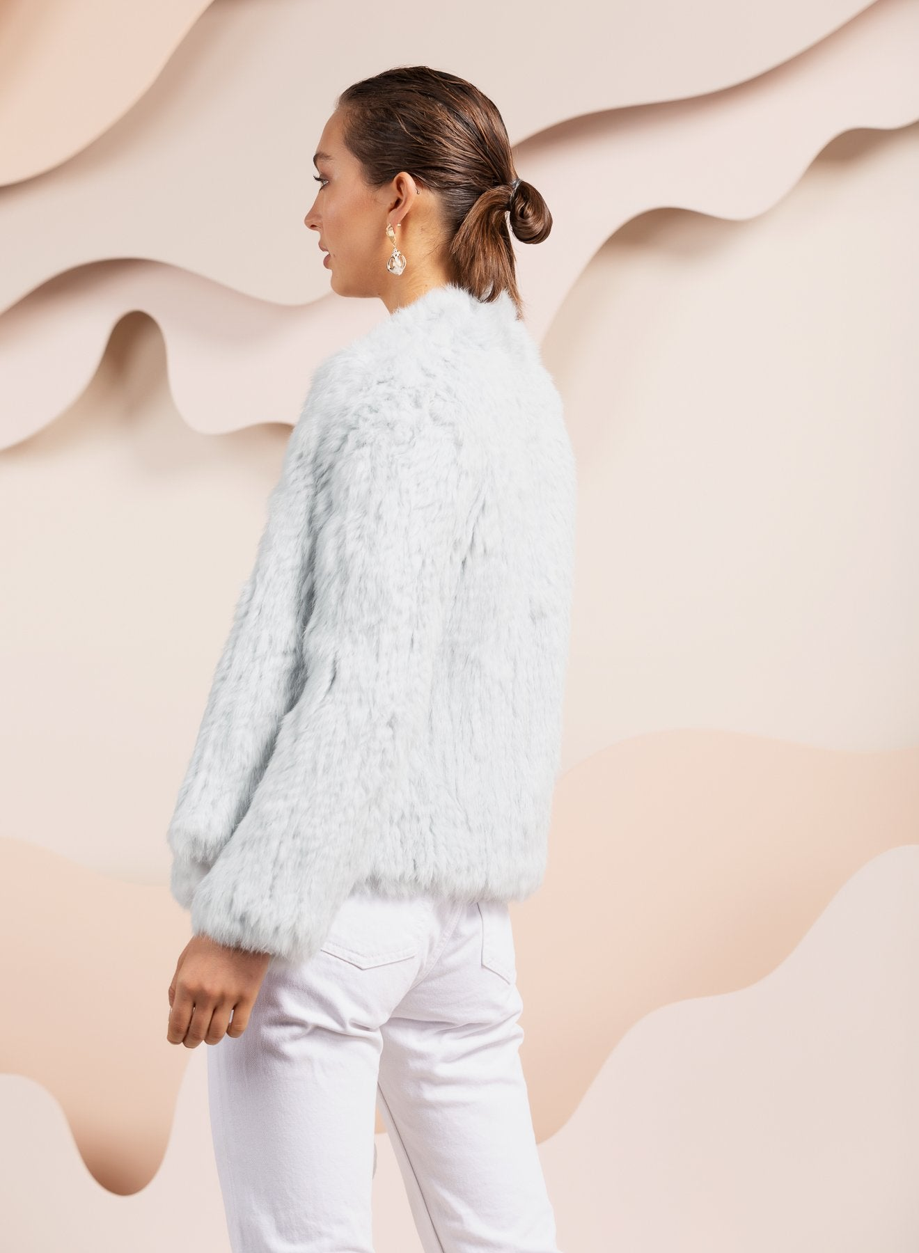 pale blue bubish rabbit fur jacket