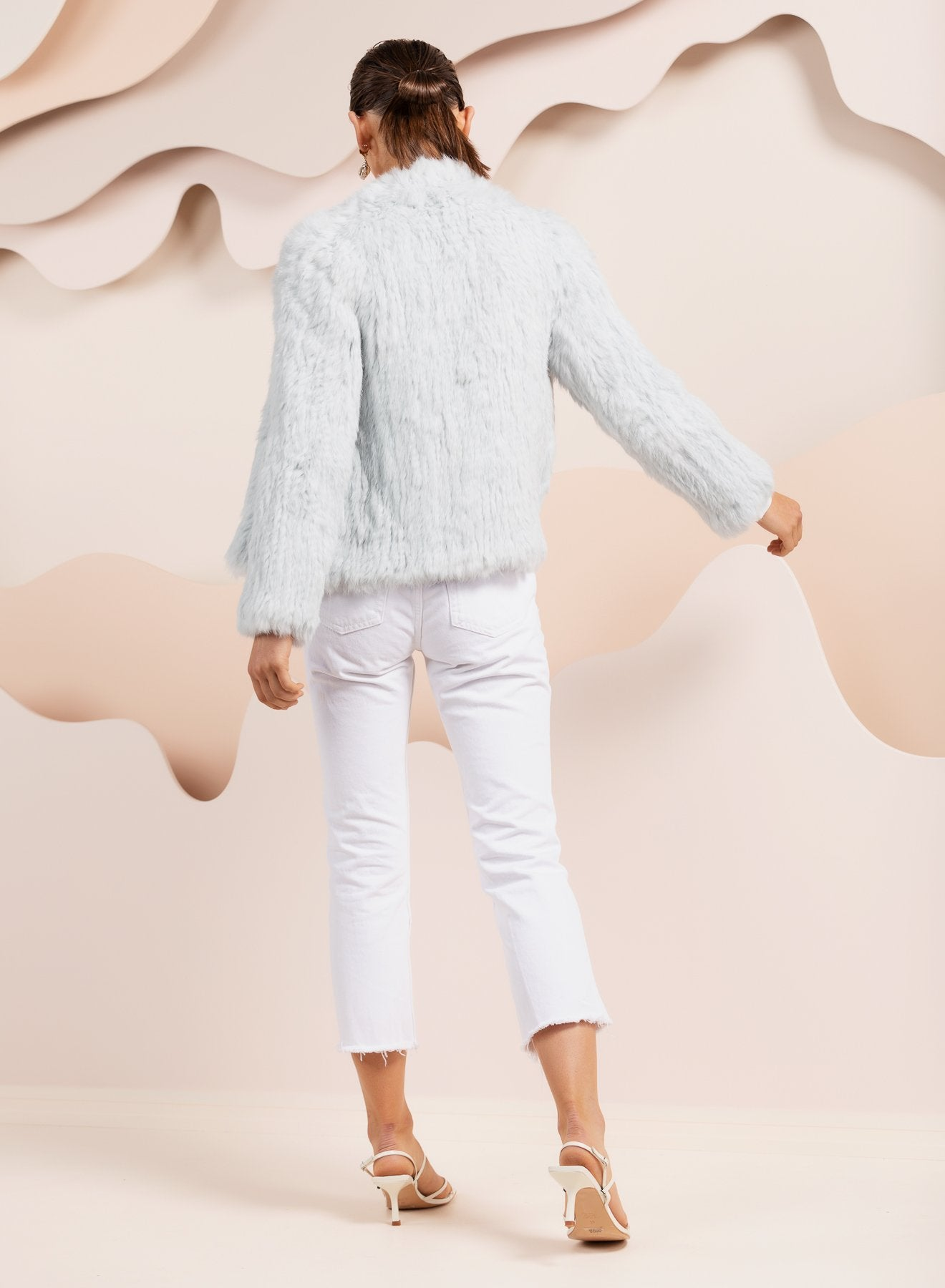 Valencia Pale Blue Fur Jacket *Pre-Order 12-14 Days