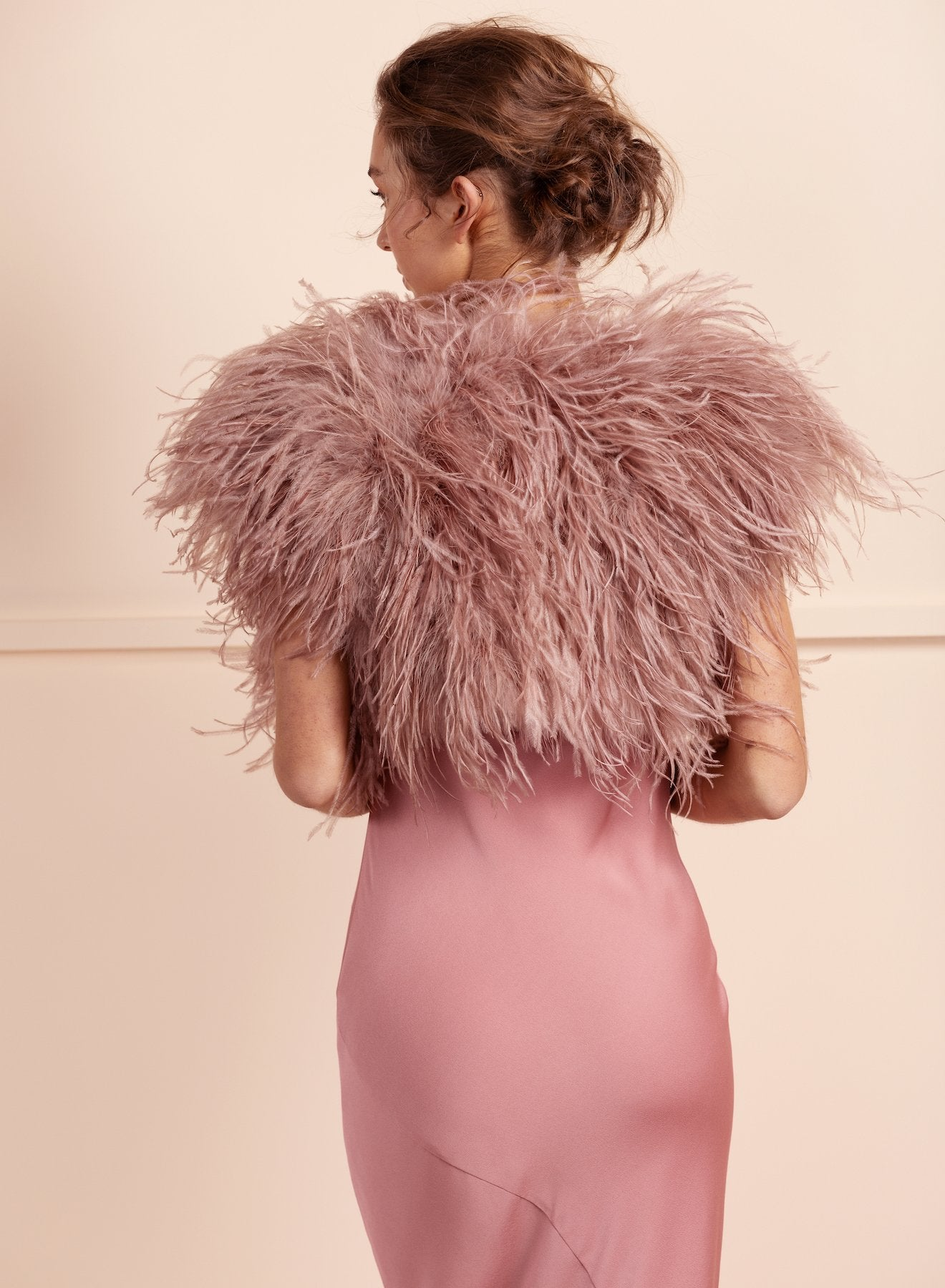 Berlin Bridal Feather Bolero - Dusty Pink