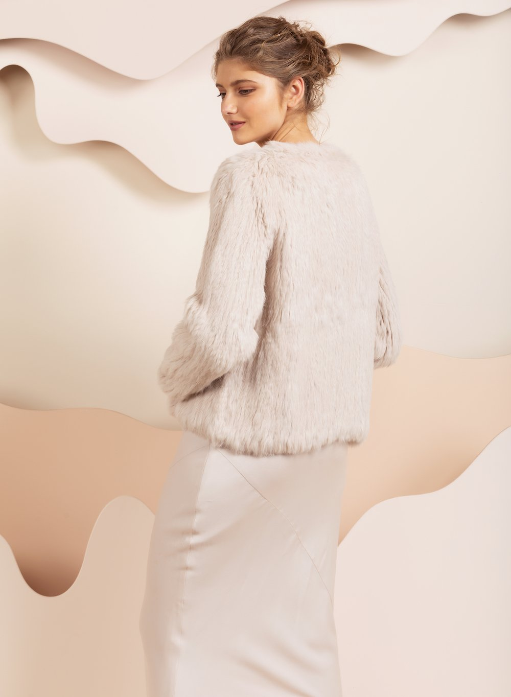 Coletta Oatmeal Fur Jacket *Pre-order 14 days
