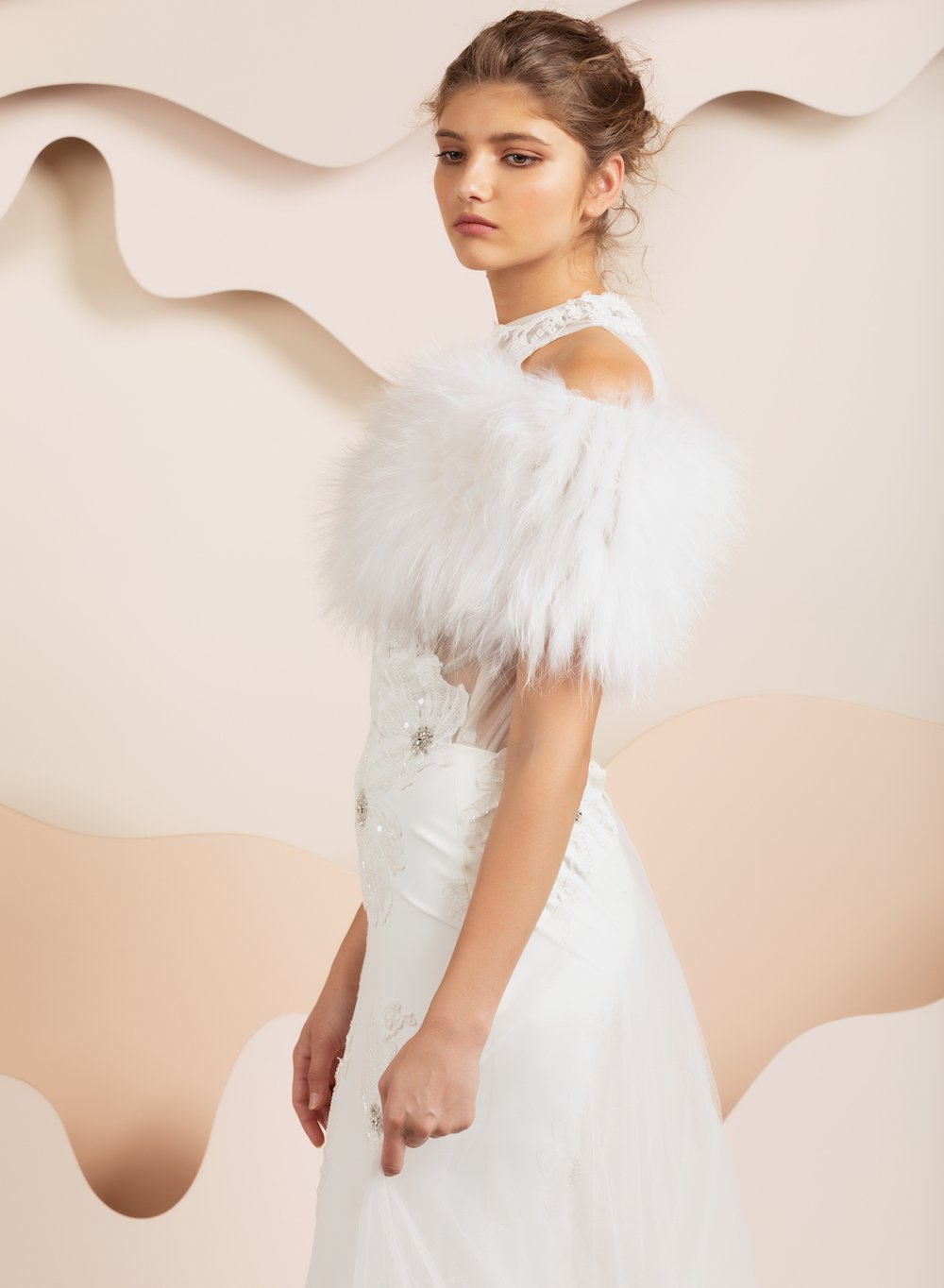 Daphne Fur Bridal Cover Up - White *10-12 Day Pre-Order