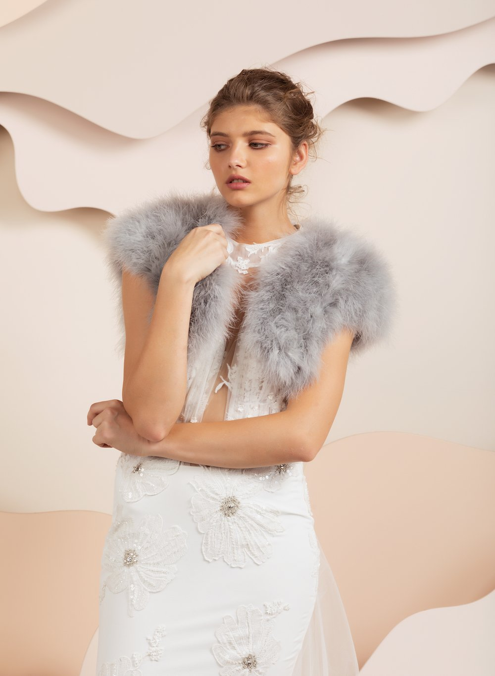 Manhattan Feather Bolero - Light Grey