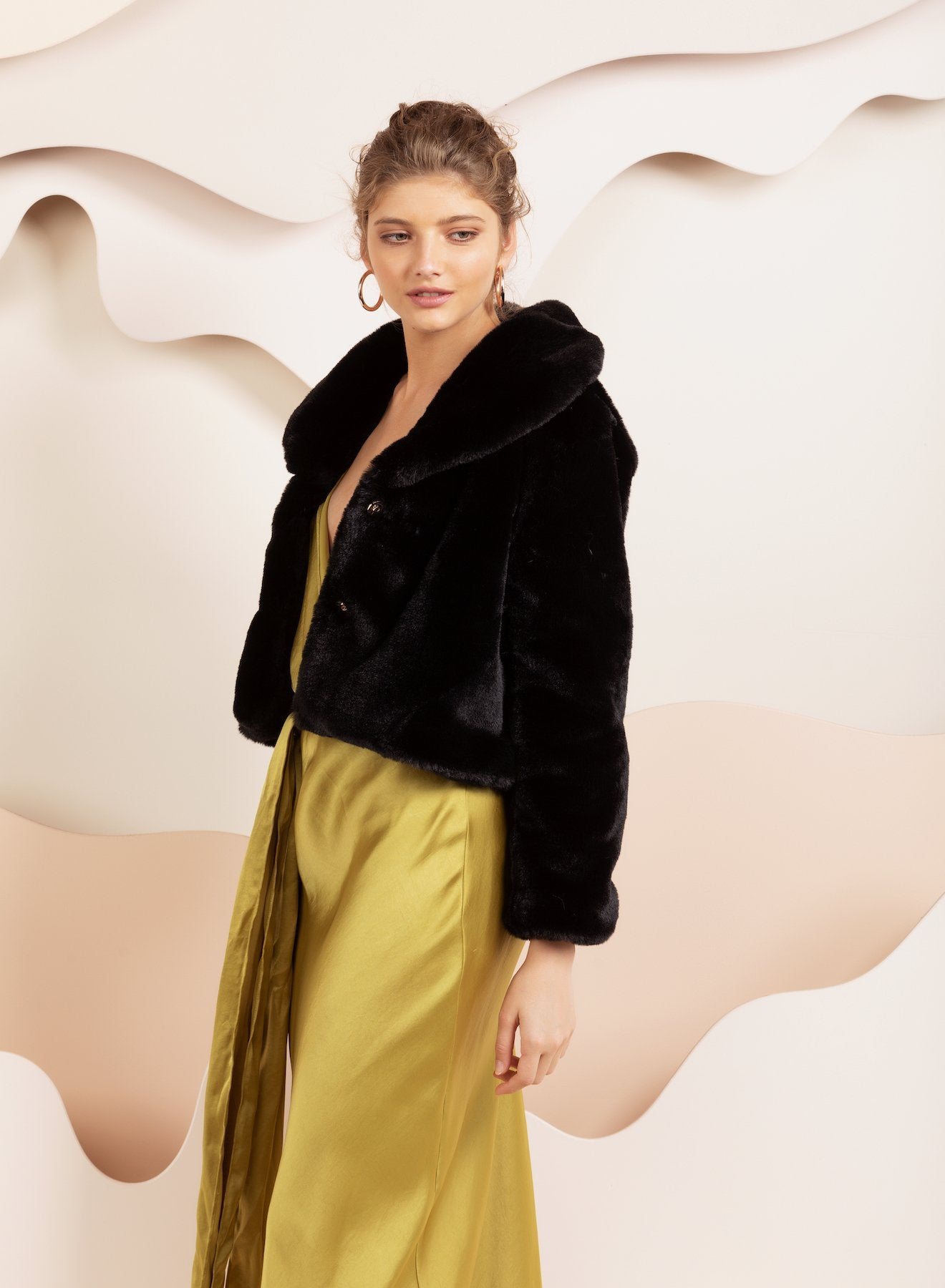 Faux Fur Milan Crop Black Jacket *Sold Out