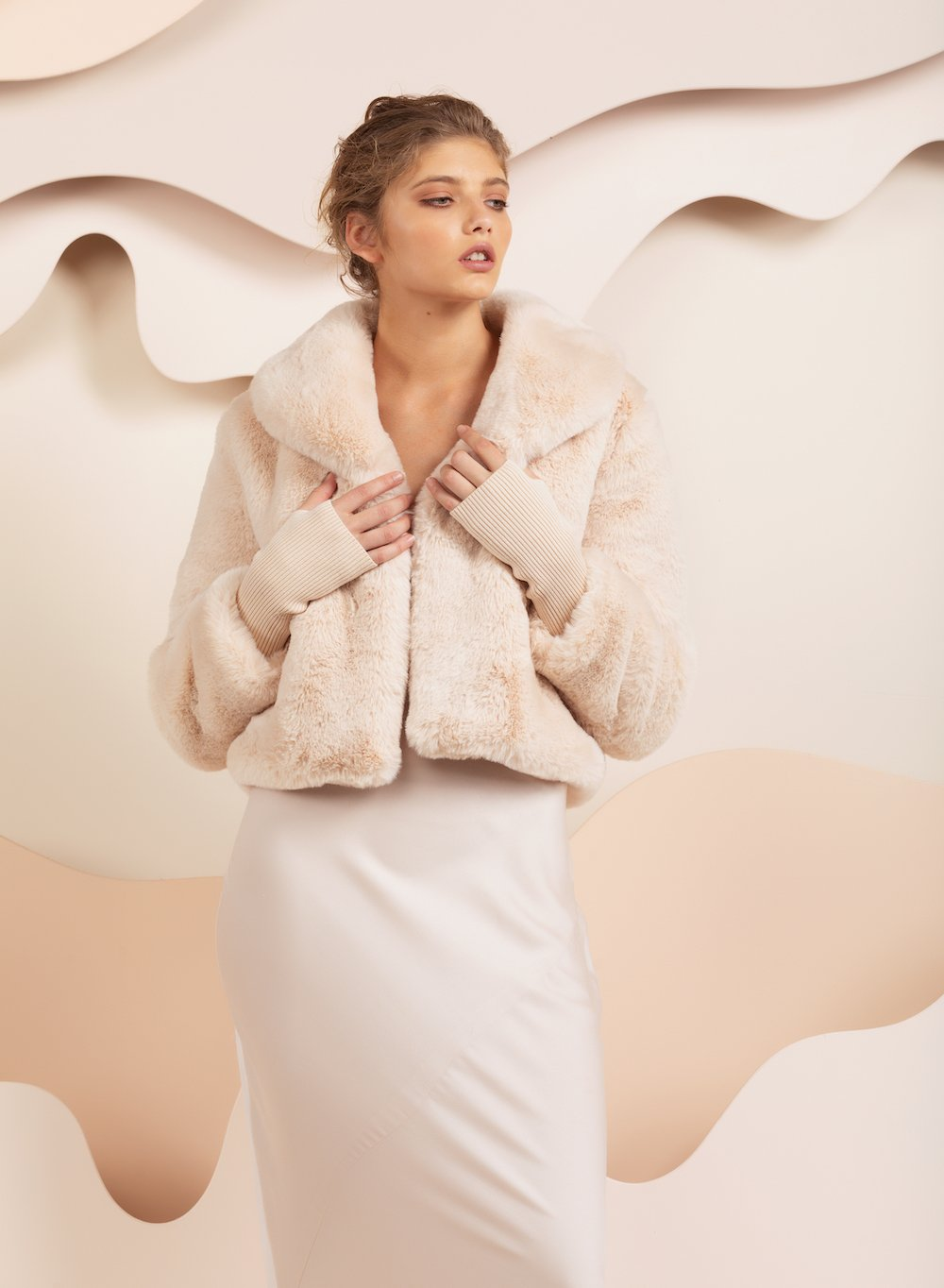 Faux Fur Milan Crop Oatmeal Jacket