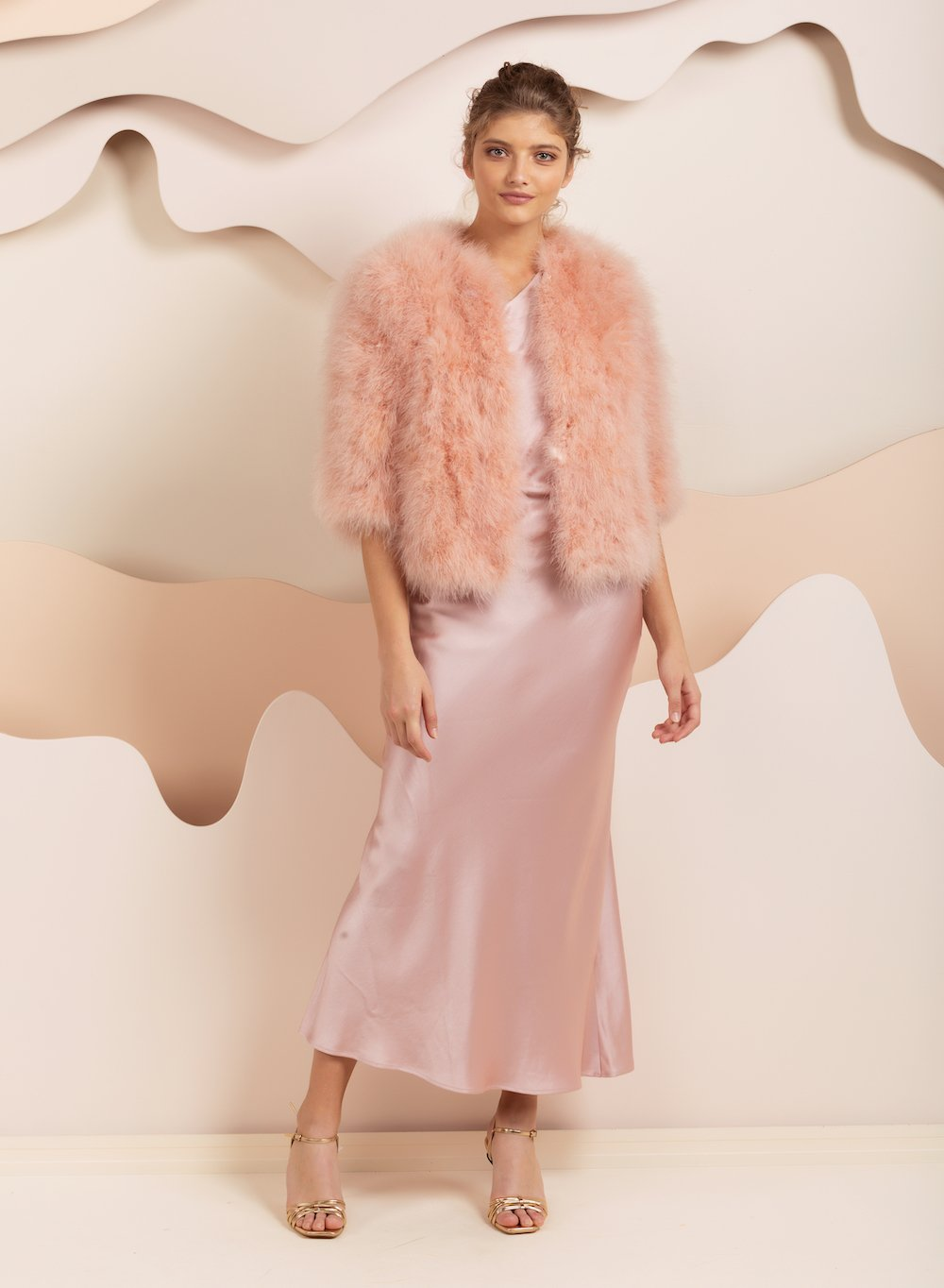 bridal Cropped sleeve pink feather jacket by bubish