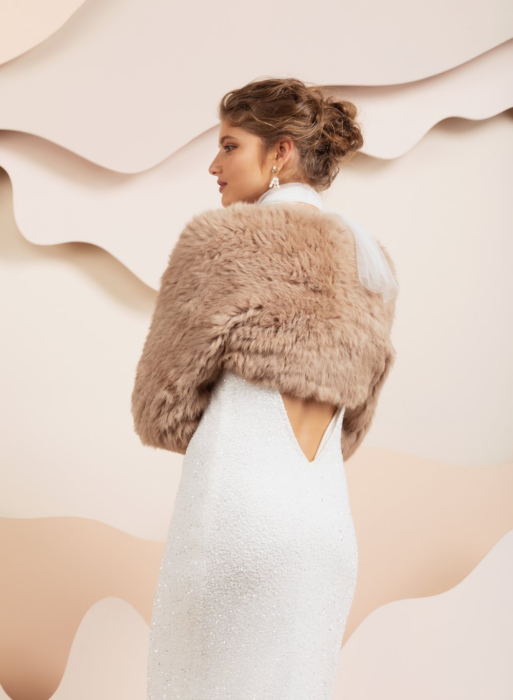 Franki long sleeve rabbit fur bolero by bubish