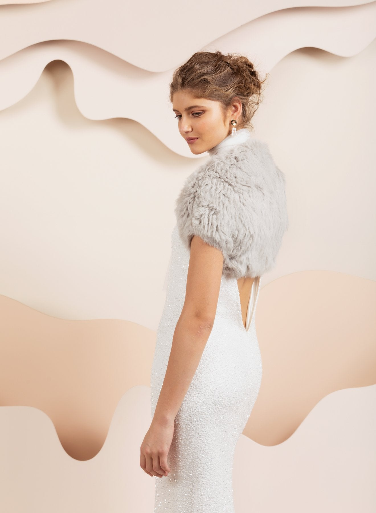 Whistler Fur Bridal Bolero - Light Grey