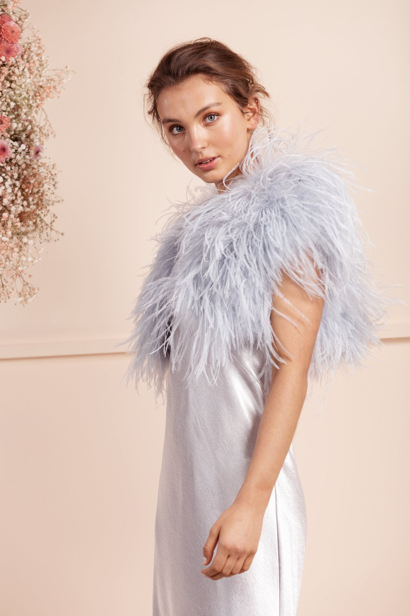 Berlin Bridal Feather Bolero - Pale Blue