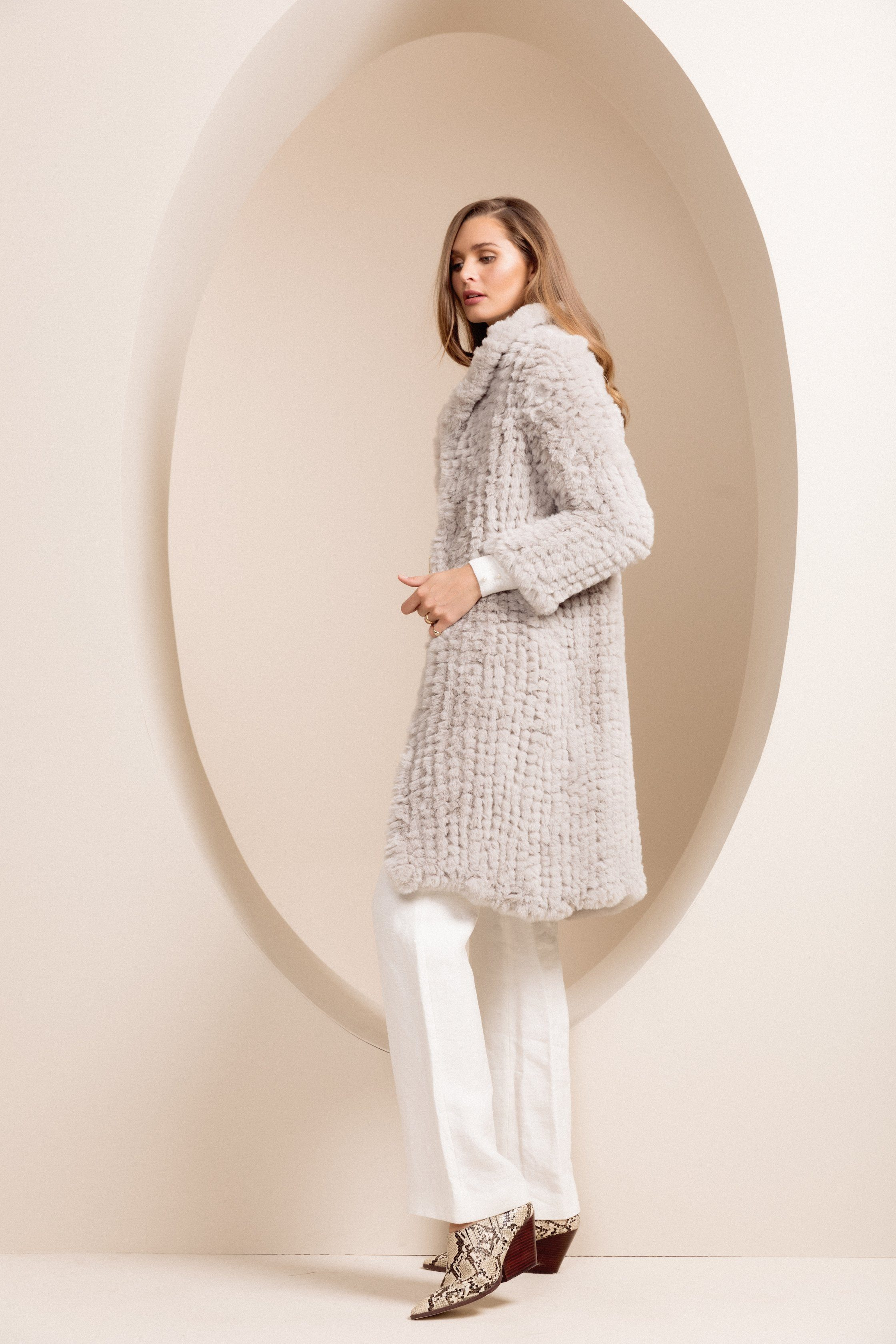 Faux Fur Oxford Light Grey Coat *7-10 day pre-order