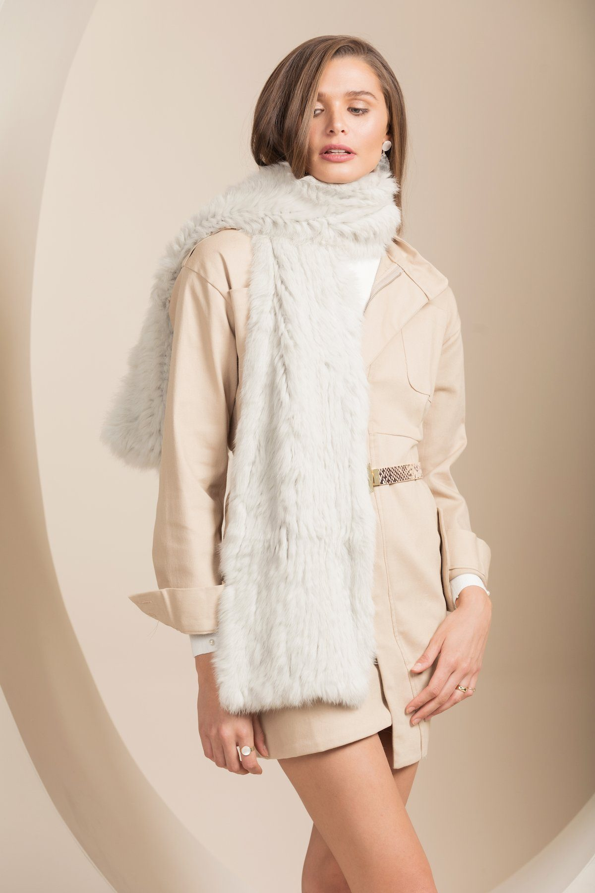 Rome Light Grey Fur Scarf