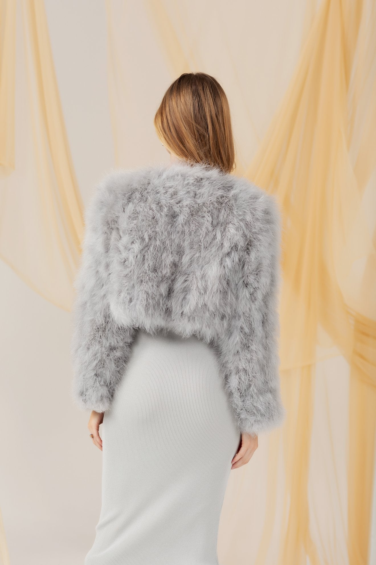 Manhattan Feather Jacket - Light Grey Cropped Jacket Bubish Luxe