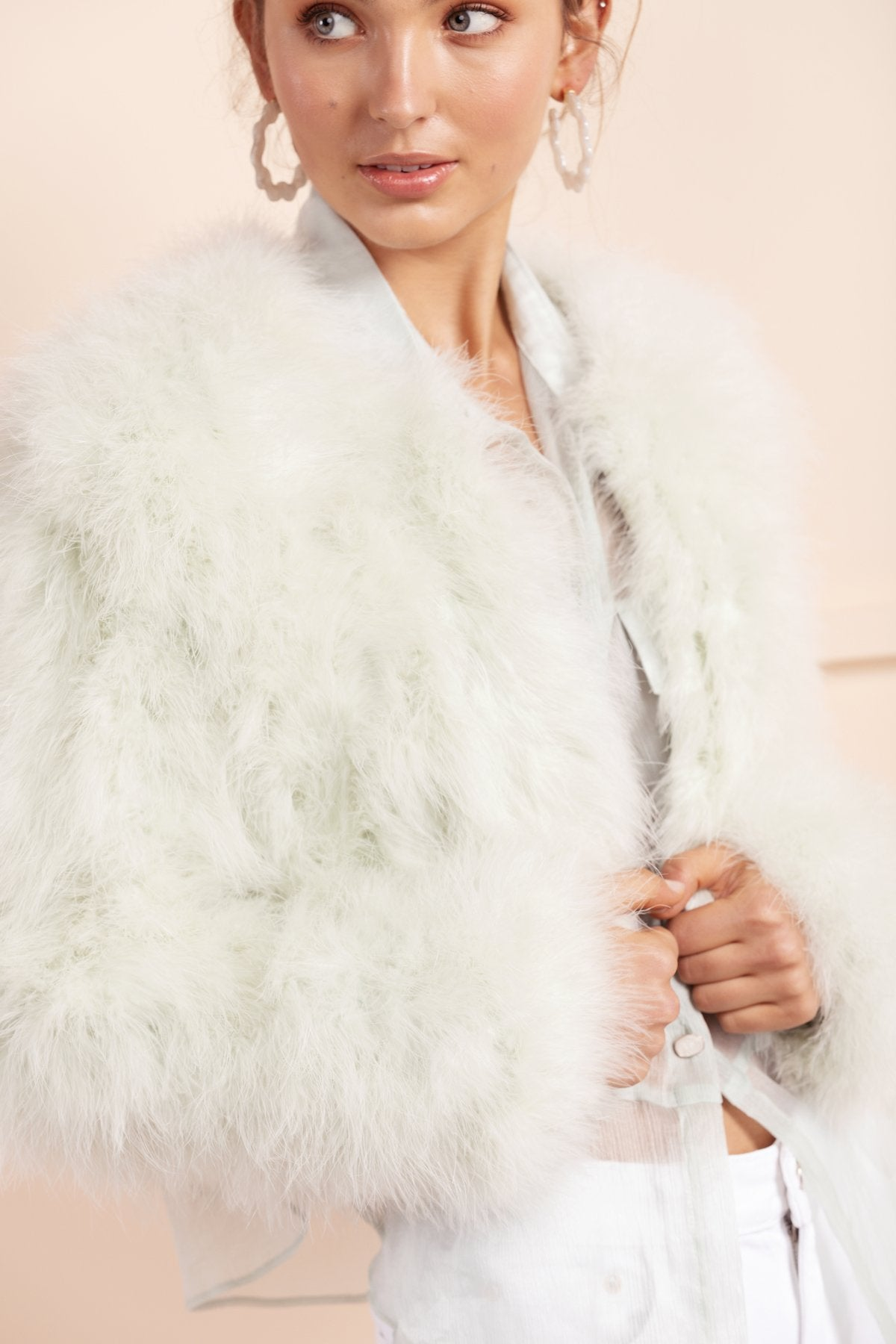 mint green cropped feather jacket by bubish