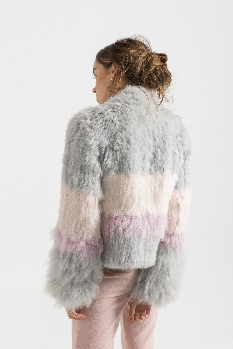 Sicily Fur Jacket - Light Grey, Blush, Lavender