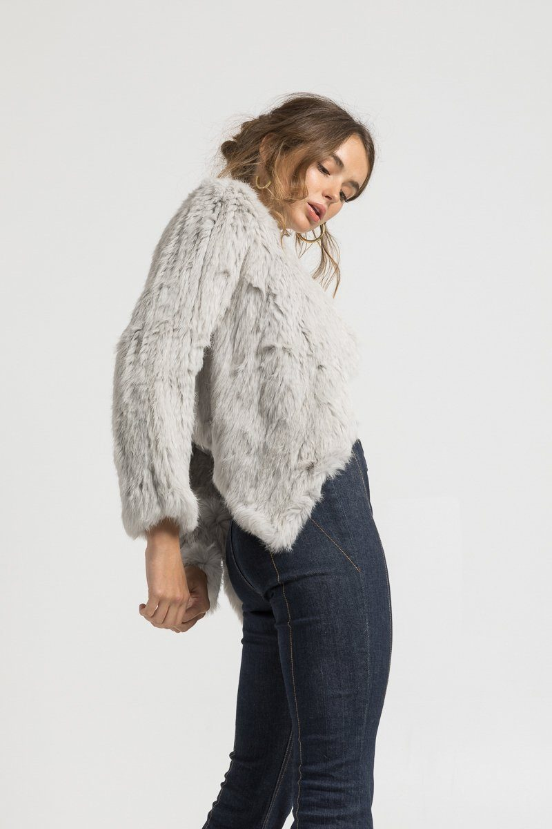 Bubish Cropped Back Jacket in Light Grey