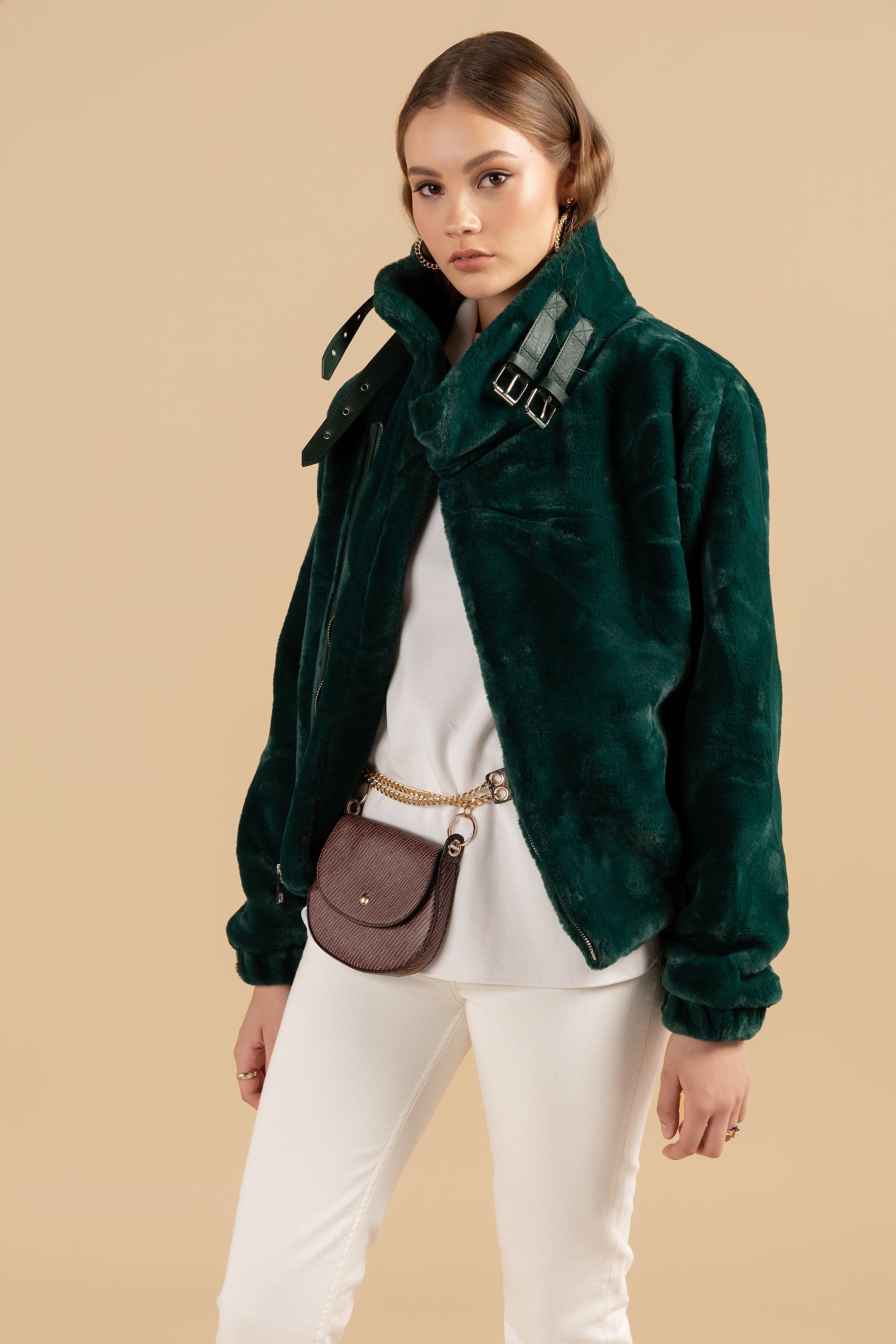 Faux Fur Orlando Emerald Green Jacket