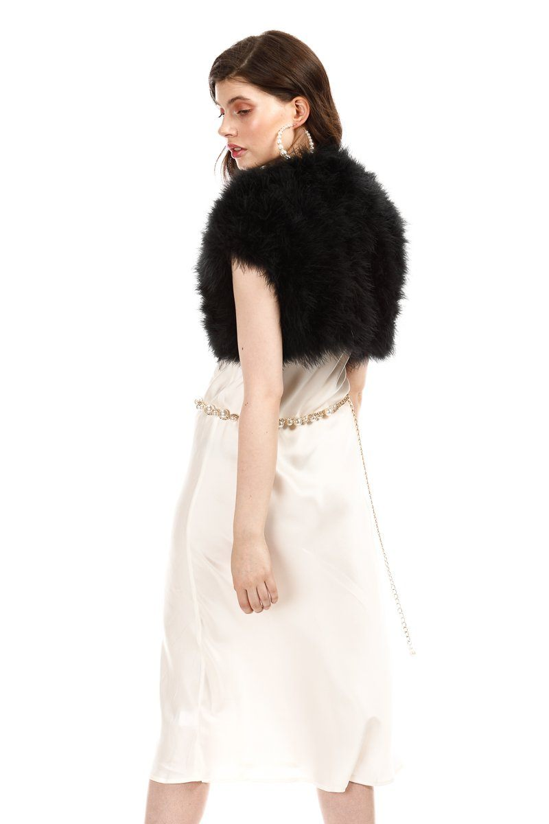 Manhattan Feather Bolero - Black