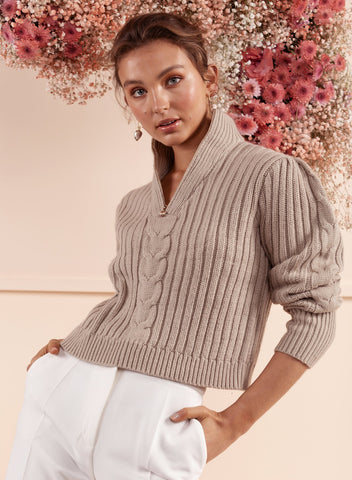Sienna Turtle Neck Jumper - Beige