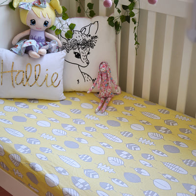 Cotton jersey fitted cot sheets made using 100% GOTS organic cotton, super soft, lightweight, breathable, crease free, fits Boori cot mattress