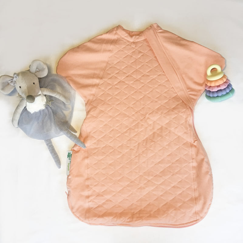 Sleepy Hugs sleep sack, sleep suit featuring 2TOG quilting with top and bottom opening zippers for easy nappy changes.