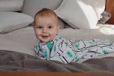 Sleepy Hugs sleep sack for gentle swaddle transitioning, calms the startle reflex, perfect for tummy rollers