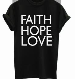 85e5f9c1251 FAITH HOPE LOVE Print Women tshirts Cotton Casual Funny t shirt ...