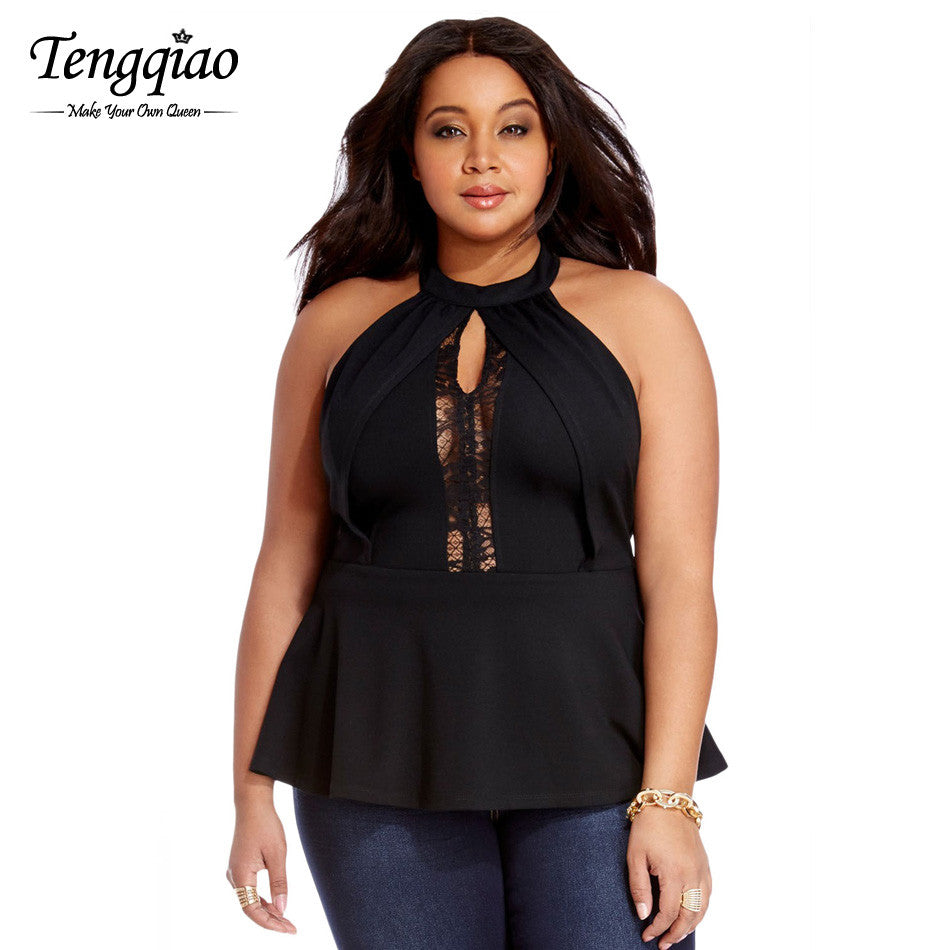 d18a261344ad9 ... Back Zipper Sexy Lace Tank Tops Strapless Ladies Lace Plus Size Tops  Black High Neck Sleeveless ...