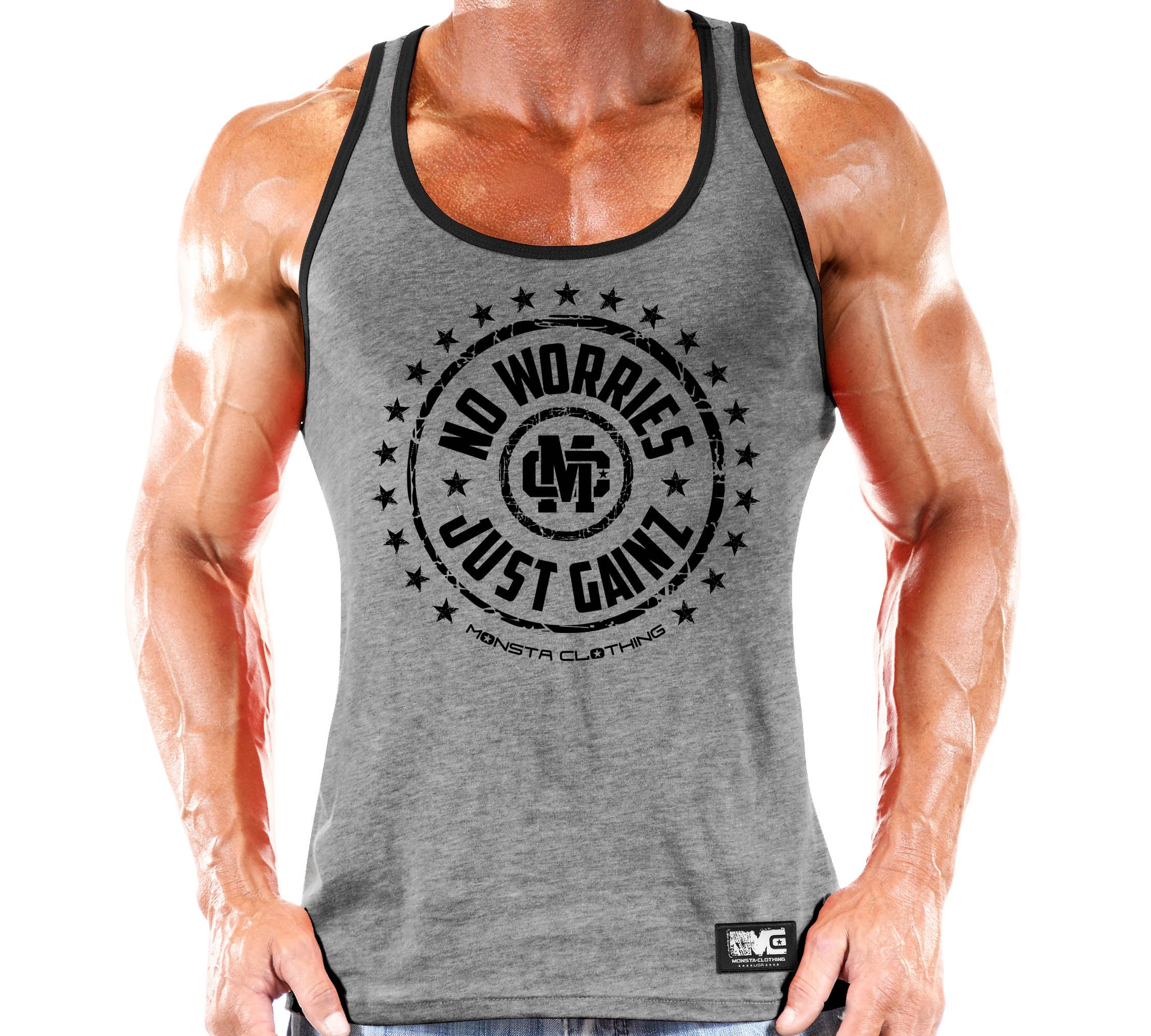 NO WORRIES JUST GAINZ TANK - Monsta Clothing Australia