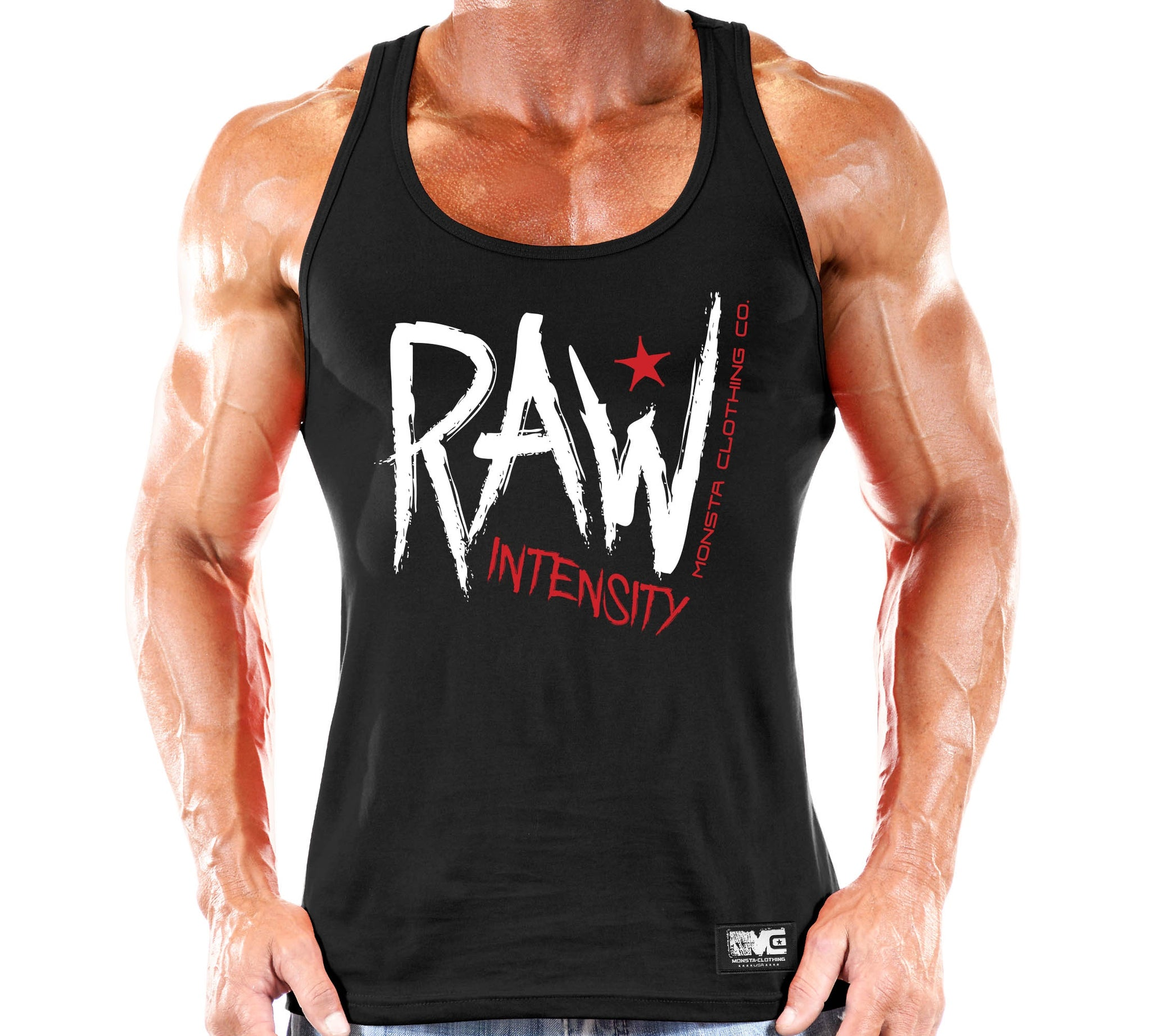 RAW INTENSITY TANK WHITE TRIM - Monsta Clothing Australia