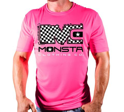 BREAST CANCER CHECKERS POLYDRI S/SLEEVE 142 - Monsta Clothing Australia