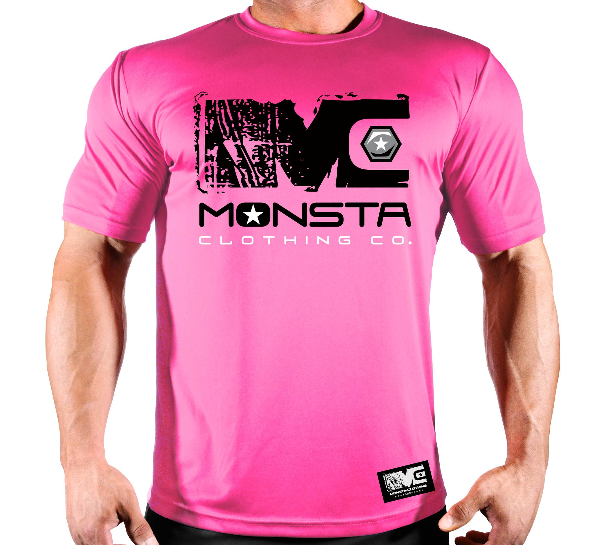 TEE: MONSTA UNDA CONSTRUCTION POLY DRI PINK