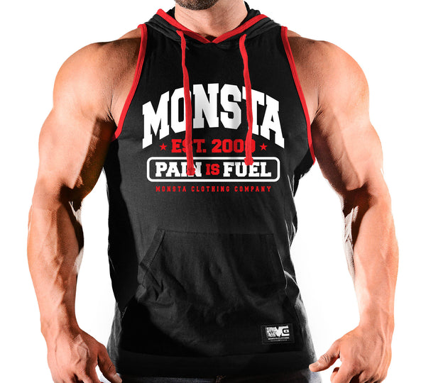 HOODED SLEEVELESS TANK PAIN IS FUEL 236
