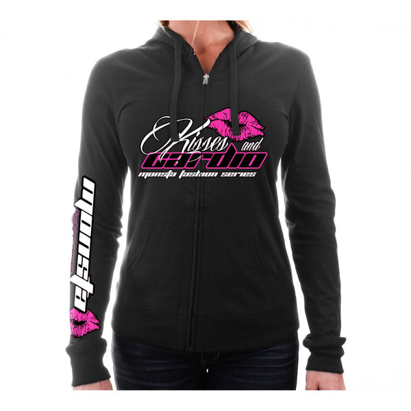 LADIES HOODIE: KISSES & CARDIO-186 - Monsta Clothing Australia