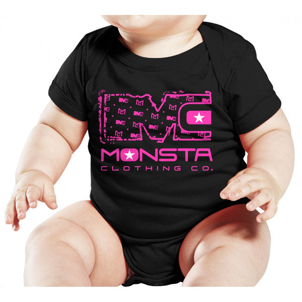 Baby: Onesie Black and Pink - Monsta Clothing Australia