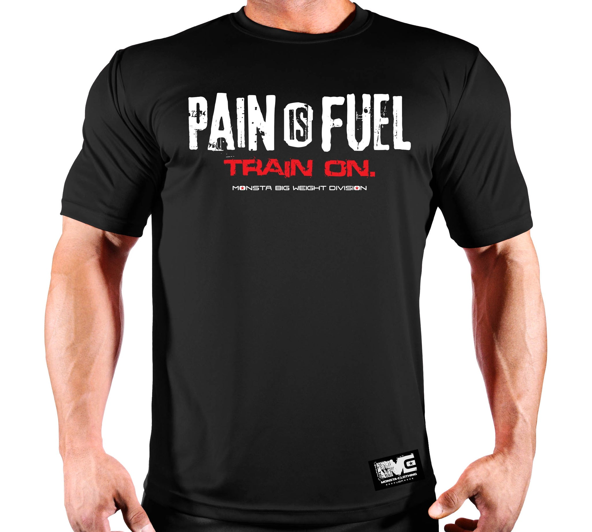 PAIN IS FUEL POLY DRI TEE - Monsta Clothing Australia