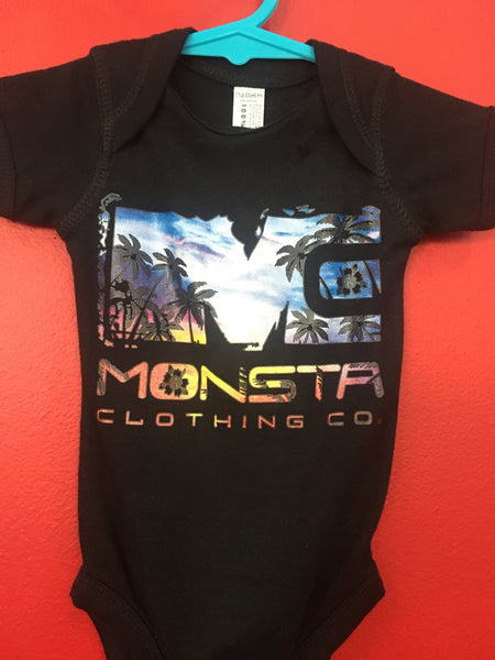 BABY: BLACK SUNSET ONESIE - Monsta Clothing Australia