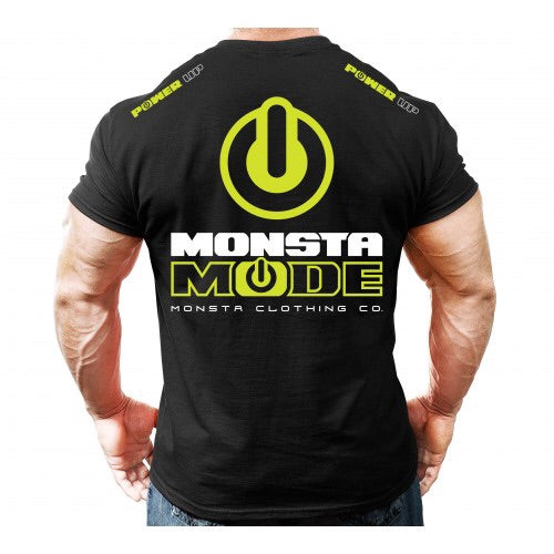 TEE: MONSTA MODE FLURO YELLOW DESIGN - Monsta Clothing Australia