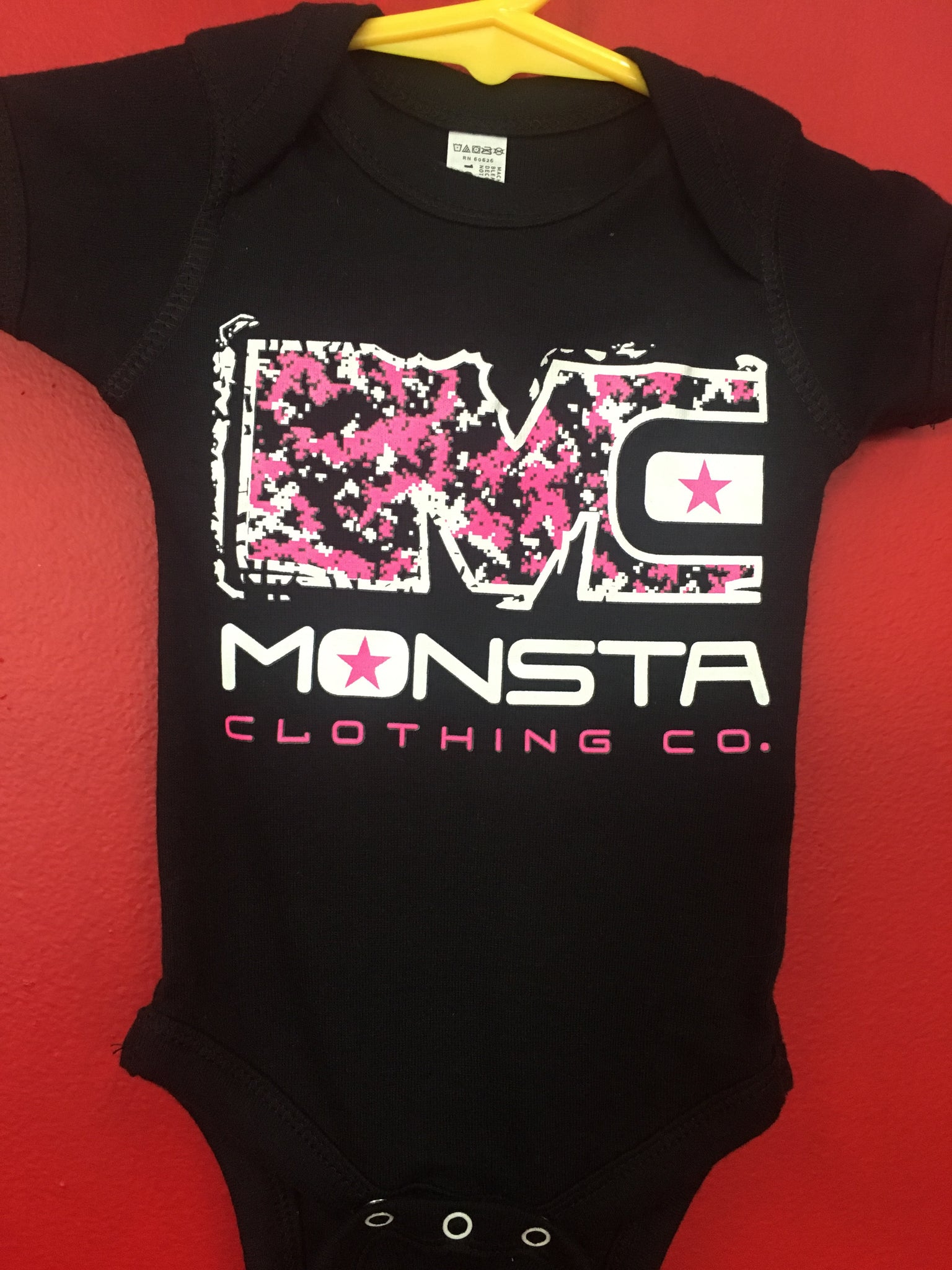 BABY: BLACK ONESIE WITH PINK MC - Monsta Clothing Australia