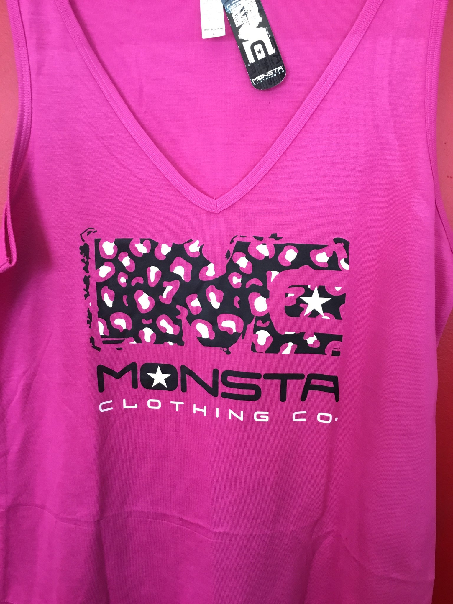 WOMENS: TANK MC CHEETAH V NECK - Monsta Clothing Australia