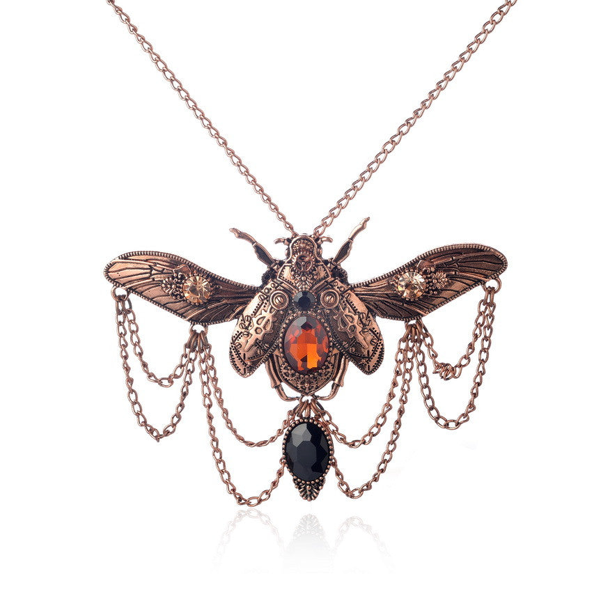 """The Grand Beetle"" Vintage Steampunk Necklace"