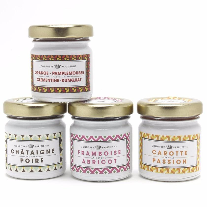 Gift box 4 flavors: raspberry-apricot, Millésime rosé, raspberry-dark chocolate, four citrus