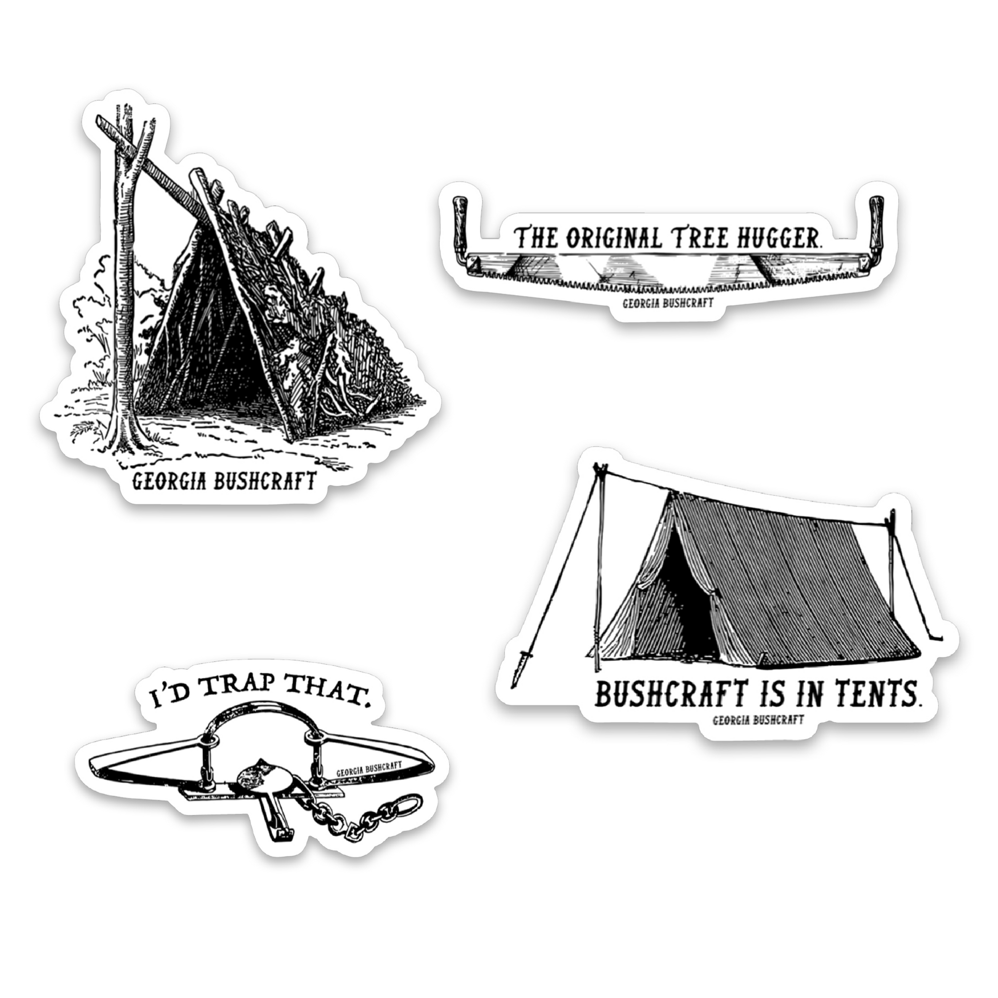 Bushcraft Sticker 4-Pack