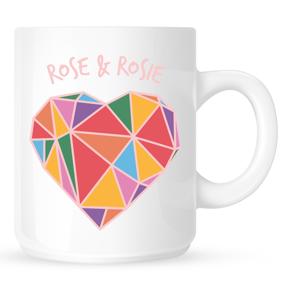 Geometric Rainbow Heart Mug