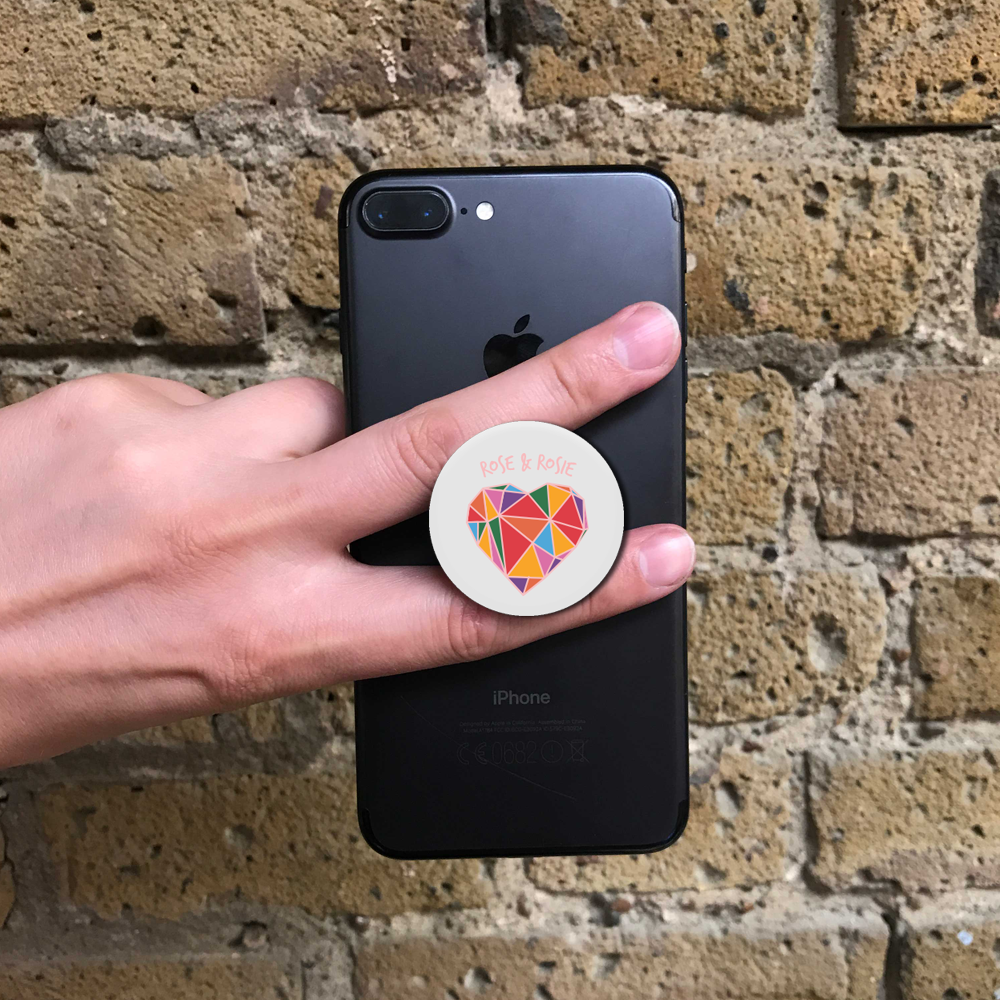 Geometric Rainbow Heart Popsocket