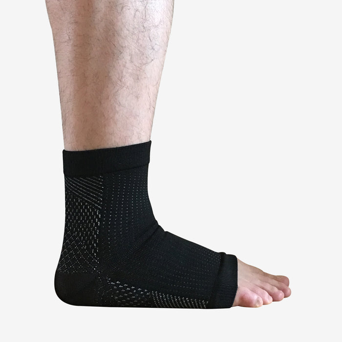 FlowRevive Open Toe Ankle Compression Socks - Black