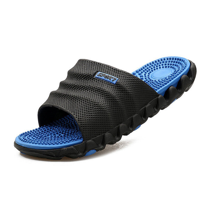 FootRevive Dual Layer Sports Massage Slippers - Black & Blue
